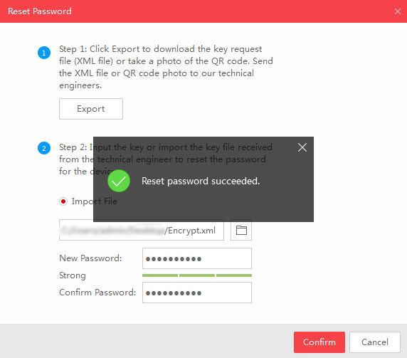 SADP Reset Password succeeded